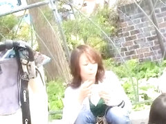 Pretty skinny asian mlfs with small downblouse on the street