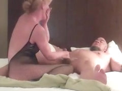 Blonde wife in black transparent outfit creampie