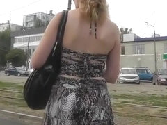 Great upskirt of a hot curly girl