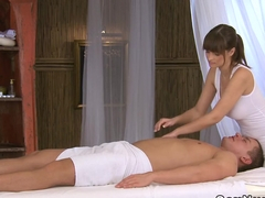 Busty masseuse wanking off cock till orgasm