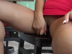 Buxom Jackie Cruz masturbates her sweet hole on the road with her favorite dildo