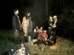 Devilish outdoor gangbang
