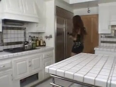 Busty perverted tranny makes sandwich with cum on kitchen