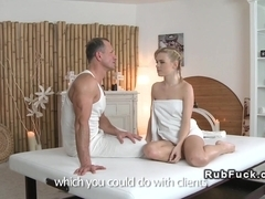 Czech masseur learning blonde nuru massage