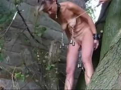 My slut slave fucked outdoor. Amateur