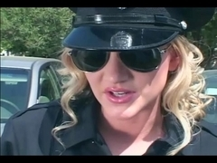 Female officer fucking in shiny latex underware