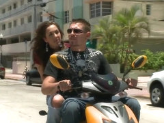 Lusty Kiera King shows off her beautiful bums on top of the bike outdoors