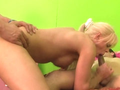 Blonde shemale does professional blowjob to her lover