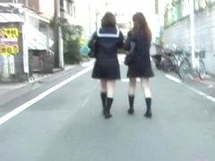 Street sharking video featuring two Japanese schoolgirls