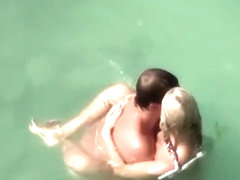 Chubby blonde nudist with her man