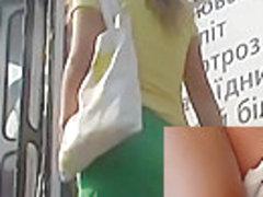 Naughty sanitary pad panty upskirt