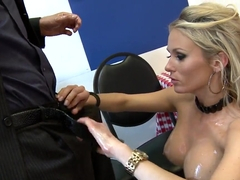Gorgeous and shy blonde Laura is more than horny