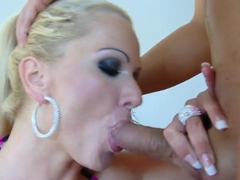 Super busty blonde milf Sharon Pink seduces younger boy and demonstrates hardcore action