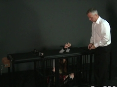 Bent over slave anal banged in dungeon