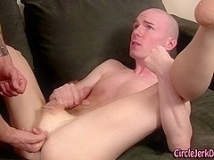 Straighty sprays his cum