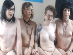 A Bunch of Pretty Tgirls Kissing and Giving Handjobs