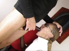 Dark nylon encasement secretary