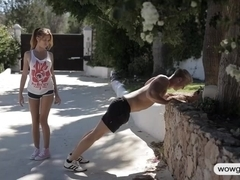 Teen cutie works out and gets her shaved pussy fucked outdoor