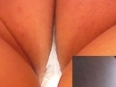 Cute upskirt view of the panty white color