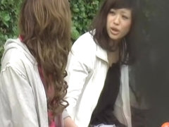 Two hot Asian babes got their panties locked sharking video