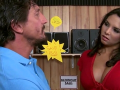Missy Martinez use her pussy to test acoustic system and seduces shop assistant