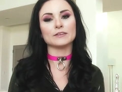 Gorgeous black haired slut double penetrated in black latex