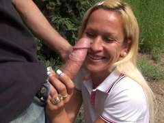 Angelique a French golden-haired older screwed outdoor