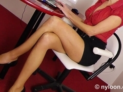 Nylon pantyhosed secretary gives shoejob and footjob