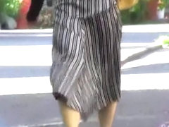 Three layers on her pussy while walking skirt sharking video