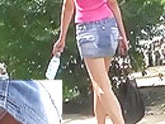 Tall sweetheart in denim mini