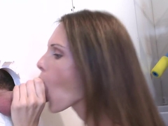 Gloryhole girl sucks three dicks