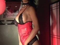 Masturbating in nylons gloves and a corset