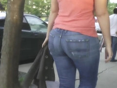 Lovely movement beautiful big booty milf in jeans