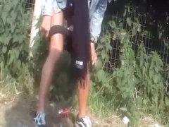 Girls secretly filmed peeing in public