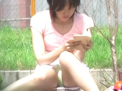 Japanese sharking video featuring a gal drenched in water