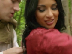 Danny D dressed up like Robin Hood pounds a hot brunette Anissa Kate in the woods