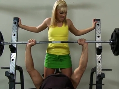 Ally Kay seduces her brother's trainer Ramon right in the gym