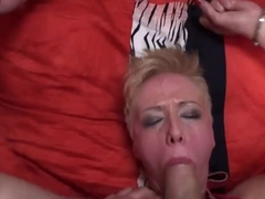 Tied up blonde bitch drilled in throat & cunt