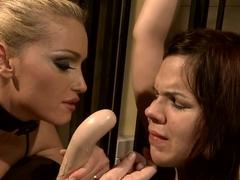 Kathia Nobili force a hot babe to suck a dildo