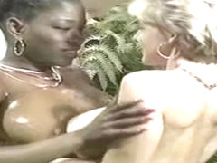 Ebony lesbian interracial pleasure