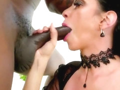 Busty brunette af interracial sloppy deepthroat