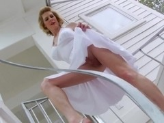 Blonde Tgirl Delia Delions loves three way sex with hot chick Maia