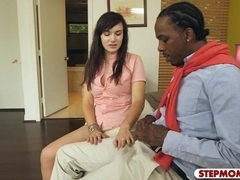 Big tits stepmom and teen fucked by black boner on the bed