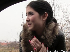 Czech stranded teen sucks strangers dick in his car