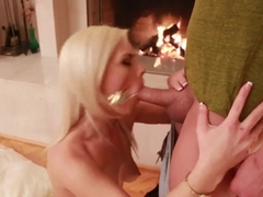 Blonde babe Tara Lynn Foxx sucks and fucks huge dick in front of the fireplace