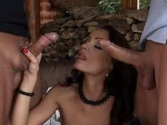 Two dudes are fucking Sophie Lynx in all holes