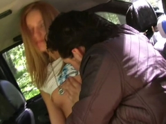 Margo in slutty girl gives head to a guy in a car