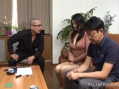 Hot mature Risa Murakami sucks two guys off for their cum