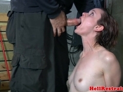 Shaved sub machine fucked by cruel dom