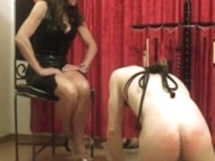 Tied slave worships his fetish mistress. feet